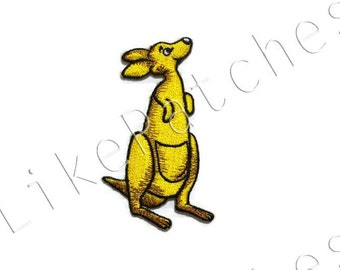 Yellow Kangaroo - Cute Animal New Sew / Iron on Patch Embroidered Applique Size 4.7cm.x7.8cm.
