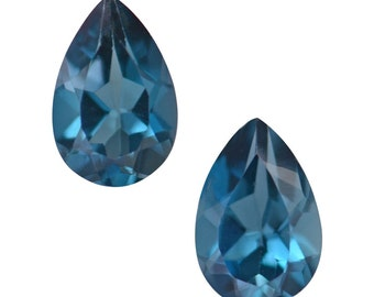 London Blue Topaz Loose Gemstones Pear Cut Set of 2 6x4mm TGW 0.85 cts.