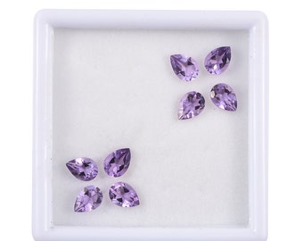 Pink Amethyst Pear Cut Loose Gemstones Set of 8 1A Quality 7x5mm TGW 4.80 cts.