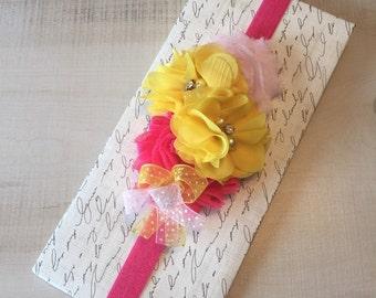 Pink & Yellow Flower Baby Headband-Newborn Baby Girl Headband-Easter Baby Headband-Newborn Baby Outfits-Easter Baby Photo Prop-Baby Headband