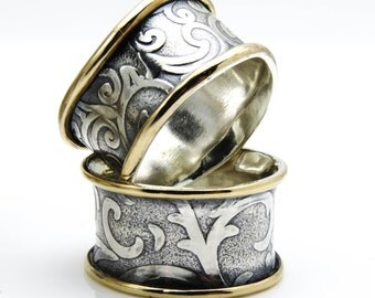 Celtic Ring, Sterling Silver Ring, Girlfriend Ring, Thumb Ring, Silver Filigree Ring, Wide Band, Mixed Metal Ring