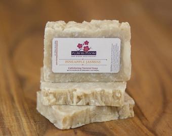 Pineapple Jasmine Exfoliating Pumice Organic Shea Butter Avocado Oil Vegan Face and Body Soap