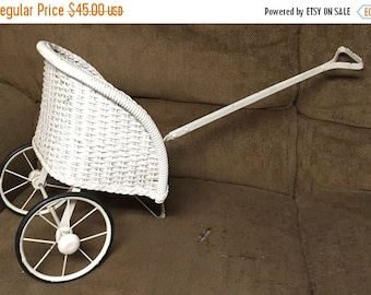 28% Spring Clearance VINTAGE ANTIQUE White Wicker Doll Rickshaw Buggy Carriage Circa Early 1900'S