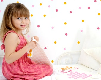 Multi color dots wall decals, wall stickers, polka dots wall decor // 3 colors combination