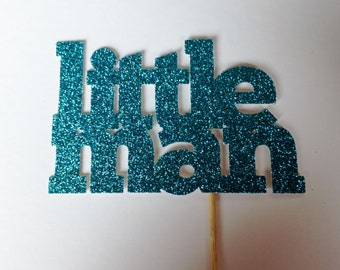 12 'Little Man' Glitter Cupcake Toppers - Baby Shower - Gender Reveal