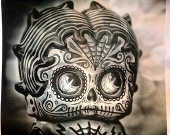 "BW Deadey Boop Dia De Los Muertos Pillow 16"" x 16"""