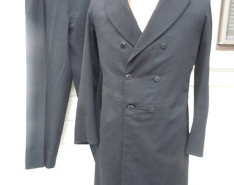 Size S (38R-39R) ** Incredible Edwardian / 1910s Black Heavy Wool Tuxedo