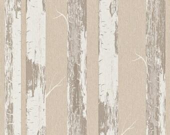 Contemporary Metallic Paper Birch Wallpaper R4364