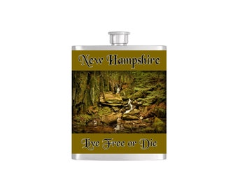 Heaven Waterfall New Hampshire Groton Fall Flask By Bottoms Up Flasks  - Stainless Steel 8 oz Liquor Hip Flasks - Flask #389