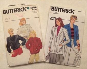 Set of 2, 1980s Butterick Jacket Patterns # 4504 & 4757 Uncut