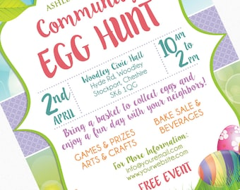 Easter Egg Hunt Flyer Invitation Poster / Template Church School Community Goods Sale Flyer / Egg Easter Hunt Picnic Spring Easter Brunch