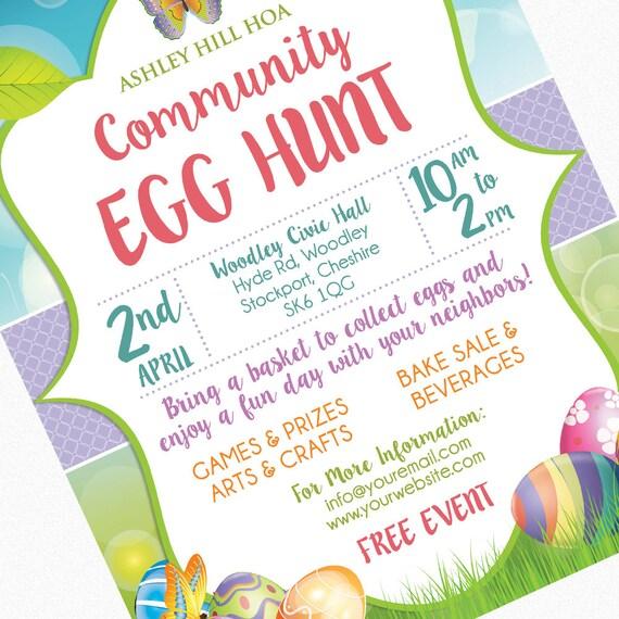 Easter Egg Hunt Flyer Invitation Poster Template Church