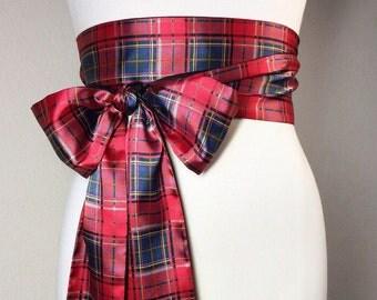 Tartan Sash, Plaid Satin Sash, Red Tartan Plaid, Reversible to Solid Navy, Black or Red Satin, Holiday Sash Belt, Wrap Belt, Satin Swank