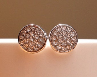 Large 18K white gold plated cubic zirconia cluster stud earrings