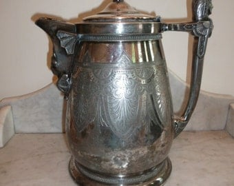 Antique large Webster silver plated Egyptian revival pitcher circa 1910
