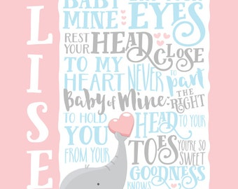 Baby Mine Dumbo Nursery Custom Lyric Print Elephant Personalized Digital Download