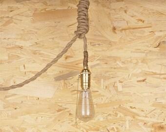 Thin Rope Edison lamp - E27 - edison bulb hanging Light - ceiling lamp - edison bulb - industrial lighting - rustic rope