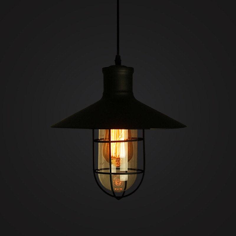 Industrial Metal Cage Pendant Lamp Lampshade OR Full Set