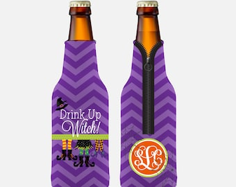 Personalized Halloween Huggie • Drink Up Witch Personalized Long Neck Bottle Huggie/Beverage Insulator
