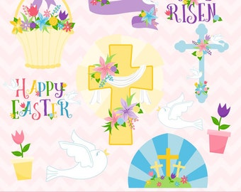 80% OFF SALE Easter Clipart, Easter Crosses Clipart, Christianity Clipart, Commercial Use, Digital Clipart, Digital Images