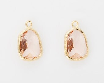 Peach Atypical Glass Connector, Pendant Polished Gold -Plated - 2 Pieces [G000901-PGPC]