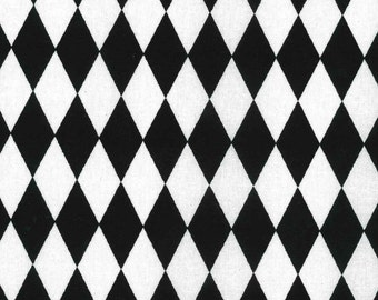Diamond Fabric, Quilting Fabric, Harlequin Fabric, Baby Fabric, Kids Fabric, Black/White, Apparel/Craft/Sewing, Yard/Half Yard/Fat Quarter