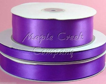 7/8 inch x 100 yards of Purple Double Face Satin Ribbon - shines on both sides