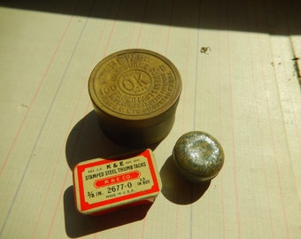3 Antique Vintage Tins Thumb Tacks Paper Clips Fasteners Lot