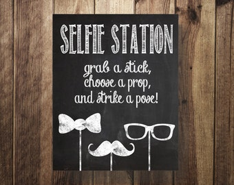 Selfie Station Sign, Grab a Prop Strike a Pose, DIY Photo Booth, Rustic, Party Printable, Wedding Reception, Digital Download