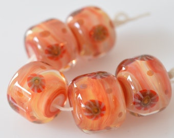 Handmade artisan lampwork boro borosilicate glass beads set of 5