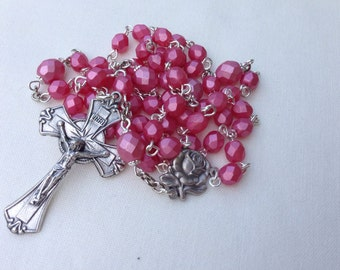 Dusty Rose and Silver Rosary // Confirmation Gift // Catholic Gift