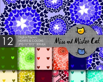 "Digital papers, Scrapbook papers, commercial use, background in Jpg. 1 Pack of 12 papers model ""Hearts & Colors""."