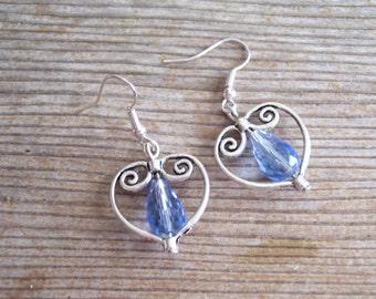 Light Blue Silver Heart Earrings, Filigree Silver Heart Earrings, Bridal Earrings, Sweetheart Jewelry, Silver Red  Earrings