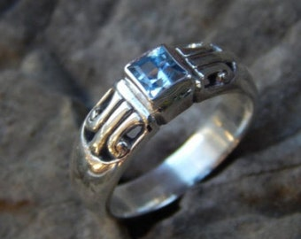 Silver ring square blue topaz