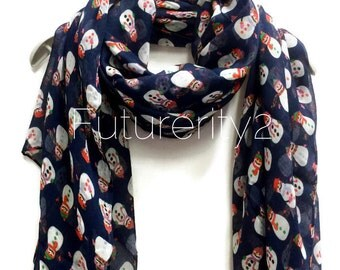 Christmas Snowman Navy Blue Scarf / Spring Summer Scarf / Autumn Winter Scarf / Gifts For Her / Women Scarves /Christmas Gifts / Accessories