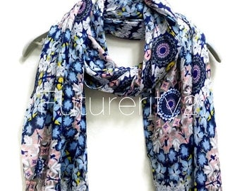 Blue Flower Power Scarf / Spring Summer Scarf / Gifts For Her / Accessories / Women Scarves
