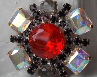Big Wonderful Vintage Czech Handmade Rhinestone Button~Red~Aurora borealis~smoke~dark ruby