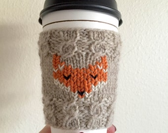 Knitted Fox Coffee Cozy