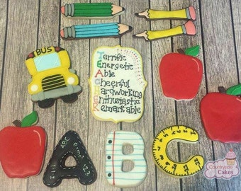 School and Teacher Decorated sugar cookies -1 dozen