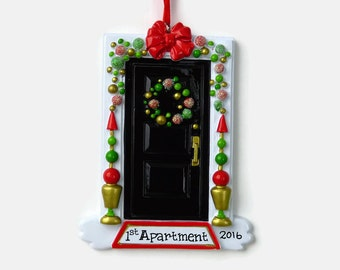 Funky or Festive Black Door - New Home - First Apartment Personalized Ornament - Hand Personalized Christmas Ornament