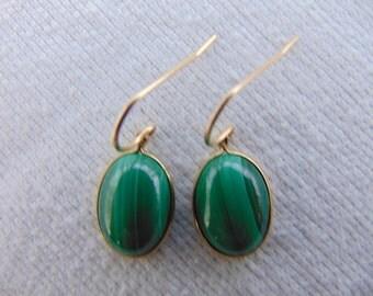 14K Gold Filled Malachite Dangle Earrings