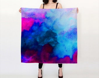 Blue Aqua and Pink, Watercolor Silk Scarf, Original Abstract Watercolor