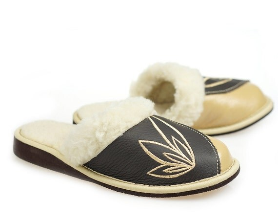 leather slippers women womens 100 wool slippers handmade 13874 | il 570xn 1004399098 ixnr