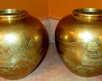 Antique Vintage Pair (2) Chinese Asian Oriental Solid Brass Vase Pots Hand Carved Etched 1920s Shanghi China