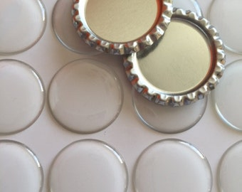 "25 pcs 1"" Flattened Bottle Caps with no hole and Epoxy Stickers which can be used for jewelry, scrapbooking and more"