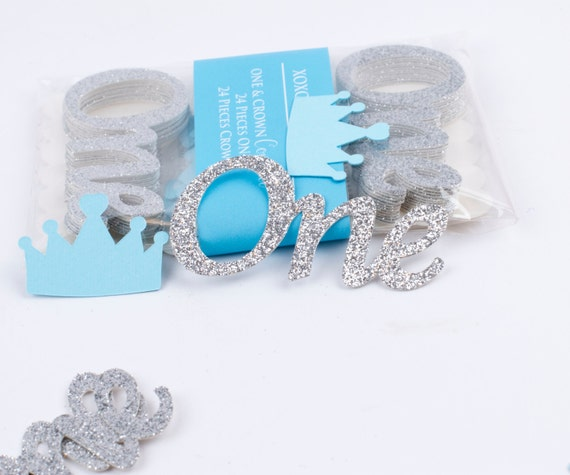 Silver One confetti Baby Boy First Birthday Table Confetti Silver ONE Confetti (24CT) and Blue Crown (24CT). Total 48CT
