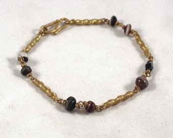 Silver gilt bracelet with ancient indian agates