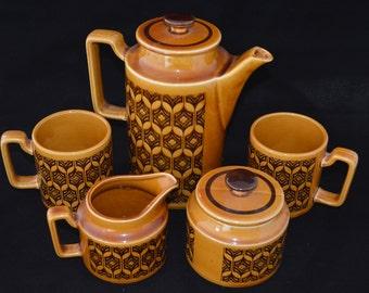 Five piece Hornsea Heirloom Brown coffee set