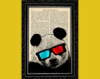 Panda Bear Movie 3D glasses Print Hipster Panda pop art Book Art Gift Print Wall Decor Poster Dictionary Print Animal Art (Animal Nº63 )