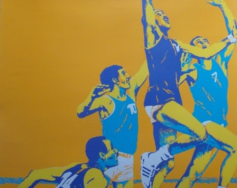 Original 1972 Munich Olympic Games Basketball Poster